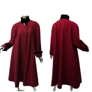 Red Wool A-Line Swing Maxi Coat Vintage 80s